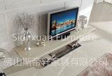 Hoog polijst het Moderne Aangemaakte Glas van TV van het Frame van het Roestvrij staal Tribune op Hoogste TV- Lijst