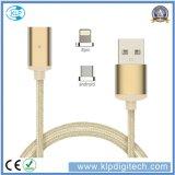 Universal 2 em 1 cabo magnético trançado de transferência de dados do carregador do USB do nylon multi para o iPhone Android