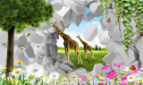 La foto 3D de la flor del pavo real y del Peony se dirige la pintura al óleo de la decoración