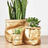 Plantador de papel, crisol de la planta, plantador moderno, plantador de interior, sostenedor de la planta, decoración negra del hogar del oro, bolsa de papel lavable, bolso del almacenaje