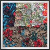 刺繍の刺繍が付いているナイロンレースファブリックが付いている多色刷りのレースファブリック