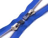 Chiusura lampo del metallo con il tenditore di Ribber/estremità aperta bidirezionale/i denti/superiore d'argento