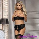 Черный кружевной 3 Кусок открыть бюст Hot Sexy белье