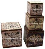 S/4 оформлены старинной Vintage дерево дизайн квадратных печать провод фиолетового цвета кожи/MDF деревянные окна соединительных линий для хранения