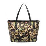 preço de fábrica na China Fashion Flores Imprimir Leather Tote Bolsas para Mulheres