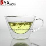 Taza de café de cristal de encargo al por mayor del té de la capa doble con la taza de cristal de la maneta/de la pared creativa casera del doble de la taza de café del té con Borosilicate