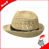 100% 자연적인 라피아 야자 밀짚 모자 중절모 모자 파나마 모자