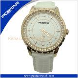 Horloge het Van uitstekende kwaliteit van het Leer van het Roestvrij staal van juwelen met IP Gouden Plateren