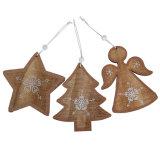 Ornamento de suspensão do Natal de madeira com projeto do anjo da estrela da Mini-Árvore