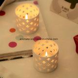 Suporte de vela de cerâmica de cilindro branco vazado (CC-07)