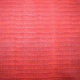 Gitter-Entwurf strukturiertes PU-Beutel-Leder, rote Farben-Schuh-Leder