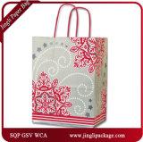 Sacos de papel Kraft para o presente do laço de Natal Shopping Promotion Gift Carrier Paper Bag