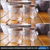 Kreatives Glasglas für Nahrungsmittelspeicher mit Metallkappen