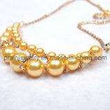 La primavera de la moda collar amarillo Perla La Perla de las cadenas, cadenas ajustable estilo veraniego chapado en oro.