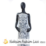Alto tessuto ricamato floreale bianco del vestito francese dal merletto 2018 per nuziale