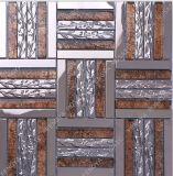 水晶混合ステンレス鋼モザイク、 GoldLeaf の長いストリップ水晶モザイク、普及した新しい設計金属モザイク