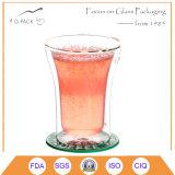 Taza de café de cristal de pared doble del Alto-Borosilicate