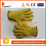 Ddsefety 2017 желтых перчаток водителя кожи с сохранённым природным лицом коровы без подкладки