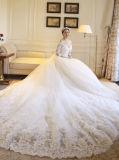Sweetheart Appliques Half Sleeves Robe de mariage en train chapelle (Dream-100090)