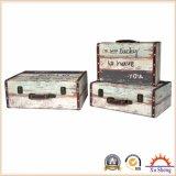 Caixa de presente antiga de madeira da caixa de armazenamento da mala de viagem da cópia da tela do assentamento