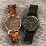 남자를 위한 유일한 일본 Movt 석영 줄무늬 목재 나무로 되는 시계