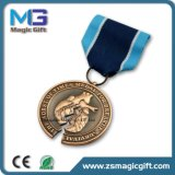 Médaille antique en métal du bronze 3D de ventes chaudes avec la bande courte