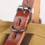 Sacchetto di mano lavato della tela di canapa con le borse delle signore della cinghia di cuoio (RS-8582B)