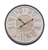 Madera natural con el metal de la dial del metal 3D y el reloj de pared de madera