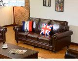 Sofà di cuoio di 1+2+3 America per mobilia domestica (8001)