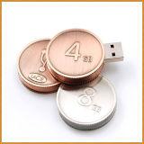 Aandrijving Van uitstekende kwaliteit Bitcoin USB van de Flits van het Muntstuk USB van het Metaal van de Prijs van de fabriek de Ronde Gouden