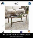 Hzct123カーティスのコーヒーテーブルはガラス表に金属をかぶせる