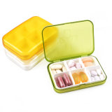Mini caixa de armazenamento portátil R8302 do comprimido da medicina da droga de 6 entalhes