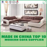 Sofá de canto de couro de sala de estar de design moderno