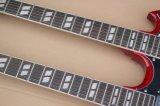 Guitarra elétrica vermelha transparente das cordas Strings+6 2-Neck da música 12 de Hanhai