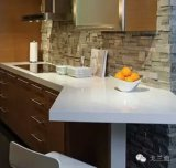 Prefab Batida de cozinha em pedra quartz branca para tendência de cozinha