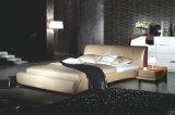 Neuer eleganter Entwurfs-modernes echtes Leder-Bett (HC256) für Schlafzimmer