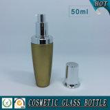 bouteilles en verre cosmétiques de la lotion 50ml avec le chapeau argenté de pompe