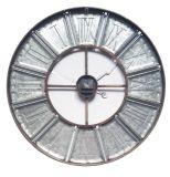 Argento & metallo della ruggine con l'orologio di parete della manopola della stampa