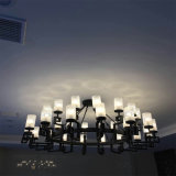 Ficha preta de vidro moderna Matt Lâmpada Pendente para projeto de hotel