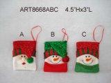 """4.5 """" Hx3 """" L 산타클로스 및 눈사람 나무 장신구 & 카드 홀더 3 Asst"""