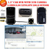 Mobile Car DVR com câmera dupla Recurso de vídeo digital de carro de 2 canais com GPS Tracker Tracking Route Car Black Box, 5.0mega HD1080p Câmera de controle de estacionamento