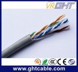 4X0.5mmcu, 0.9mmpe, croix, câble d'intérieur gris de PVC UTP CAT6 de 6.0mm