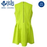 緑のV首の細くセクシーな夏の後部ジッパーの女性方法Aラインの服