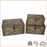 Ensemble antique en bois de cadre d'entreposage en valise d'impression de tissu d'emboîtement de 3