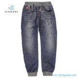 Jeans del denim dei ragazzi ricamati vendita calda con il cinturino con elastico dai jeans della mosca