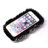 Handmade Soft Rabbit Fur Phone Case com Crystal Crystal Rhinestone para iPhone 7