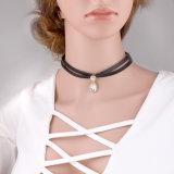 方法マルチ層PU革デザイナーダイヤモンドの水晶チョークバルブのネックレスの宝石類