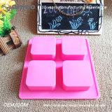 O quadrado da cor-de-rosa 6 deu forma ao molde de borracha dos queques do silicone do FDA com alta qualidade