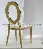 Moderno hotel de diseño oro rosa muebles metálicos sillas para banquetes con cojín de PU