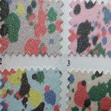 Flower Design Glitter PU Leather para Decoração Upholstery Hw-675